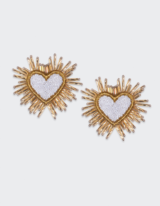 Sparkle Heart Beaded Earrings