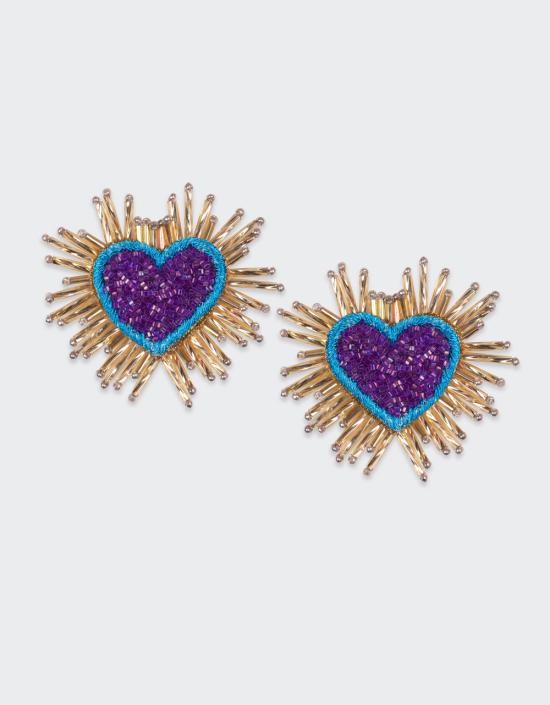 Sparkle Heart Earrings Beaded