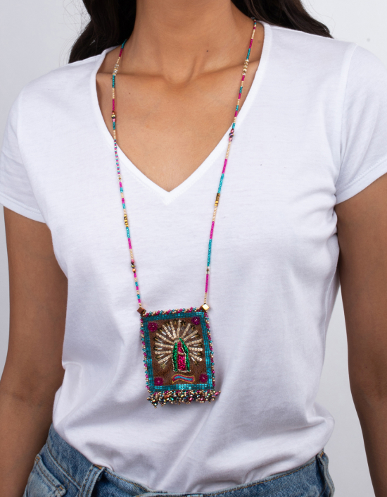 Mexican Heart Talisman Necklace Large